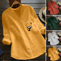 Women Cat Print V Neck Blouse Ladies Casual Long Sleeve Loose Tunic Tops T Shirt