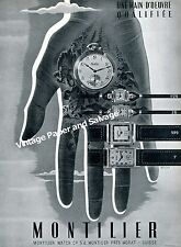 1942 Montilier Watch Company Switzerland Vintage 1940s Swiss Ad Advert Suisse