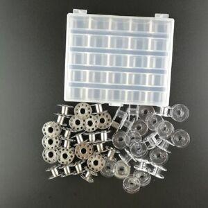 25 Spools + Empty Bobbin Case Organizer Clear Storage Box Sewing Machine Bobbins