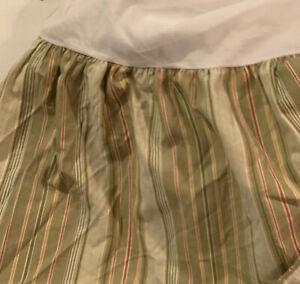 Waverly Garden Room Green Striped Bed Skirt Dust Ruffle ~ Queen
