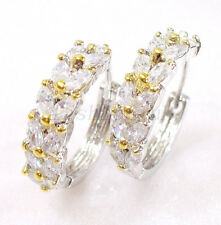 White Gold Plated Clear CZ Cubic Wedding Valentine Birthday Big Hoop Earrings