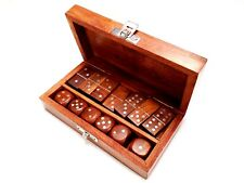 Handmade Wooden Games With Domino And 6 Dices in Game Storage Box Design 5