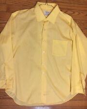 Arrow Men's Decton Perma Iron roadcloth Collar 17 33 Yellow Dress Shirt  303