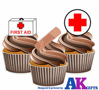 PRECUT First Aid Medical Nurse 12 Edible Cupcake Toppers Decorations Birthday