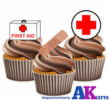 Precut FIRST AID medical infirmier 12 Comestible Cupcake Toppers Décorations Anniversaire