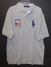 Polo Ralph Lauren Big and Tall Mens Gray USA Flag Big Pony Polo Shirt NWT 2XLT