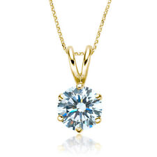 0.4ct I1/HI Natural Round Diamond 18K Yellow Gold Solitaire Pendant Necklace