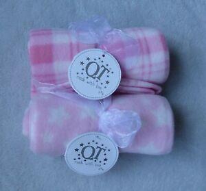 2 baby girls fleece blankets pink/white size 75 cm x 75 cm