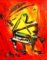 Mark Kazav PIANO Modern Abstract  Original Oil Painting  IMPRESSIONIST IMPASTO