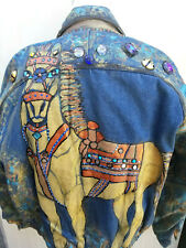 Burning Man Hand Painted Vintage 80s Denim Leather Jacket Jeweled One Sz Unisex