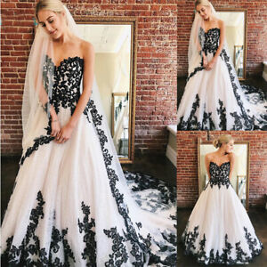 Sweetheart White With Black Lace Strapless Bridal Wedding Dresses Gowns Custom