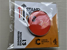 Cancer Research UK Charity Pin Badge - STAND UP TO CANCER ORANGE SHORT LOGO