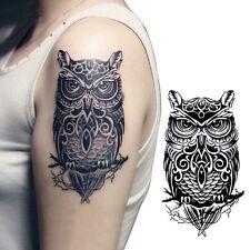 2x Adesivi per tatuaggi a forma di gufo dipinti a mano temporanLO