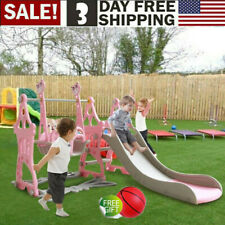 Fun Swing Set Kids Playground Slide Outdoor Backyard Space Saver 5 IN 1 Play