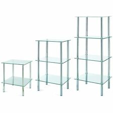 2 3 4 Tier Glass Shelf Unit Clear Shelves Storage Square Modern By Home Discount