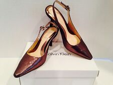 """Calvin Klein Day Crackled Slingback Heels Bronze Suede/Leather Shoes 7M """"NEW"""""""