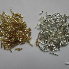 200 - 1000 Bugle Beads Silver Lined Foil Silver Gold Rainbow Jewellery Making