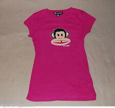 JR Womens Tee Shirt PINK Monkey PAUL FRANK Cap Sleeve L 11-13 CUTE