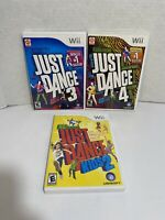 Nintendo Wii JUST DANCE Game Lot - Just Dance 3,4, Kids 2- Complete Tested