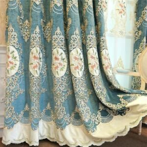 Embroidered Floral Curtains Drapes Tulle Bedroom Living Room Home Decoration New