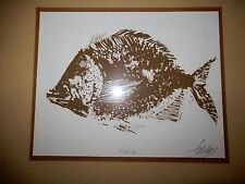"Unique Framed Woodblock Print Signed by Artist W/ Raised Seal Titled ""Fish II"""