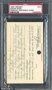 1934 Goudey #10 Chuck Klein Original Copyright Patent Proof Registration PSA