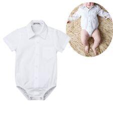 Infant Baby White Shirt Button up Romper Bodysuit Boys Gentleman Jumpsuit Summer