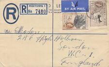 SIERRA LEONE:1958 QEII 4d brown REGISTERED Envelope  H&G C6   to UK