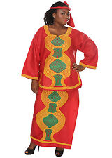African Planet Women's Asoebi Wrap Around Skirt Headwrap Heavy Embroidery Red