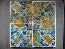 4 antike ornament Fliesen polychrom Tulpenstern mit Orangen Dutch Tiles 17 Jh.