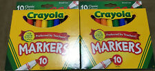 2@ Lot Crayola Broad Line Markers, Classic Colors 10 ct. Each Shipping Inc.