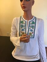 TORY BURCH $195 NWT DESIGNER COTTON WHITE PERAH TOP SWEATER BLOUSE SIZE XS - S