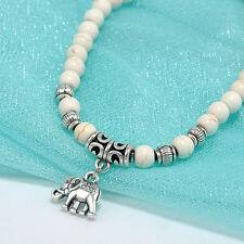 Elegant White 6mm turquoise beads Tibet silver elephant pendant elastic bracelet