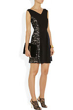 $1450 NINA RICCI Black Lace Silk Charmeuse Paneled Crepe LBD Shift Dress 40 6 8