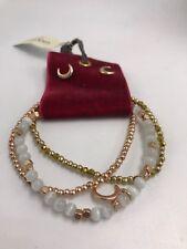 $45 LUCKY BRAND BEADED ROSE GOLD TONE  BRACELET W/ STUD CRESCENT  EARRINGS #31