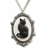 Pewter Frame Pendant Necklace Nk-653 Black Cat Cameo in Antique Silver