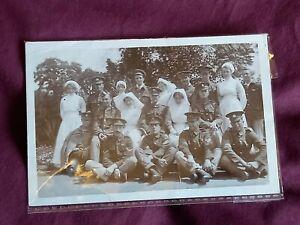 VINTAGE WW 1 ERA REAL PHOTO POSTCARD, SOLDIERS IN UNIFORM WITH NURSES