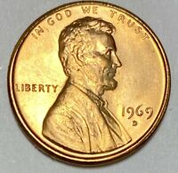 1969 D Lincoln Memorial 1 Cent Uncirculated Coin   (2540)