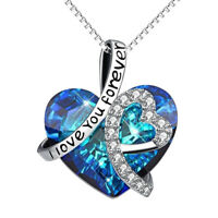I Love You Forever Blue Crystal Heart Pendant Necklace Women Jewelry Gifts US