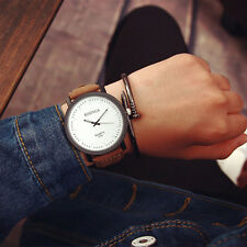 Unisex Mens Womens Watch Casual Faux Leather Quartz Analog Sports Wrist Watch US