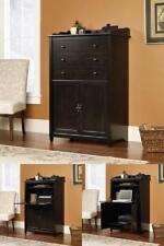 Rustic Secretary Computer Desk Armoire Cabinet Hideaway Printer Shelf Wood Black