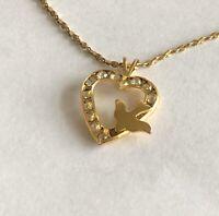 Vintage Rhinestone Gold Tone Swallow in Flight Open Heart Pendant Chain Necklace