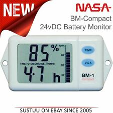 NASA Marine BM1 COMPACT Battery Monitor 24VDC with 100AMP Shunt & 5M Cable│White
