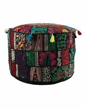 Indian Patchwork Bohemian Handmade Round Vintage Ottoman Indian Patchwork Pouf