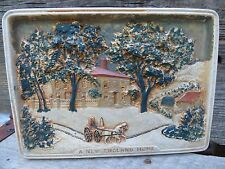 "VTG RARE CURRIER & IVES ART 5809/ ""A NEW ENGLAND HOME"" / ANT CERAMIC WALL PLAQUE"