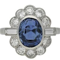 Natural 2ct Sapphire Diamond Round Baguette 18k White Rose or Yellow Gold Ring