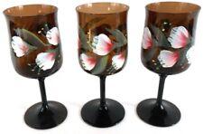 Crystal Brown Vintage Flowers Floral Painted Wine Glasses Stemware Set of 3