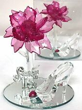 10 Mis Quince Anos Sweet 15 Acrylic Flower with High Heel Shoe Favor Fuchsia
