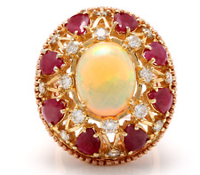 17.40Ct Natural Ethiopian Opal, Ruby and Diamond 14K Solid Rose Gold Ring