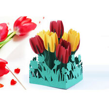 3D Tulip Flower Greeting Cards Happy Birthday Mothers Day Gift Postcards